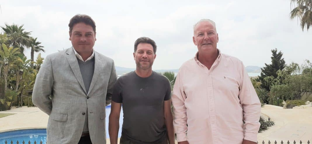 Ruud Van Oost, Derek Ray and reporter Andrew Atkinson at Casa La Pedrera.