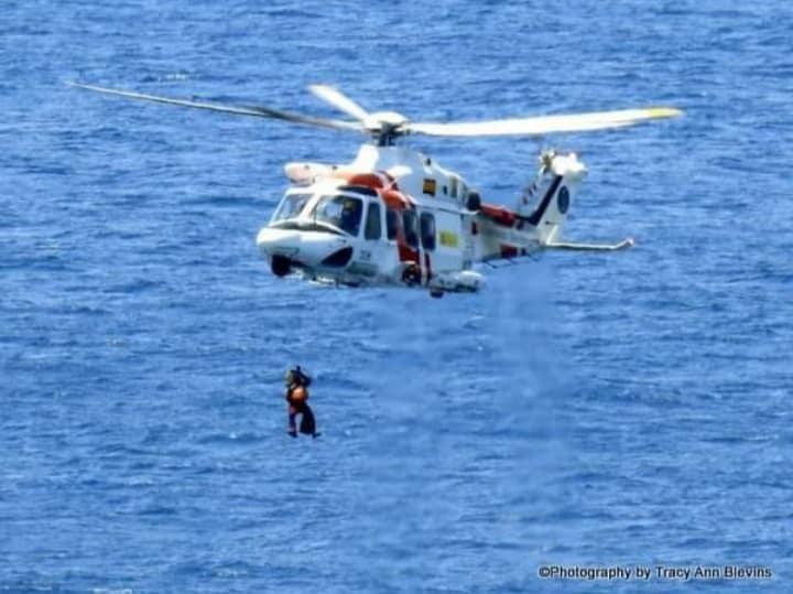 Maritime Rescue helicopter emergency services in practise in Benidorm. Photographs: Tracy Ann Essex.