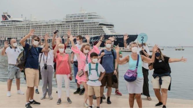 Passengers arrive in Cartagena port.