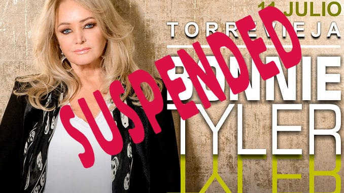 Bonnie Tyler's Torrevieja gig suspended due to COVID-19