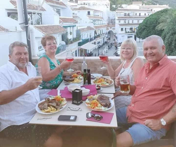 Steve Burnett, wife Debbie, Josie and Bob Harrison on the Costa Del Sol.