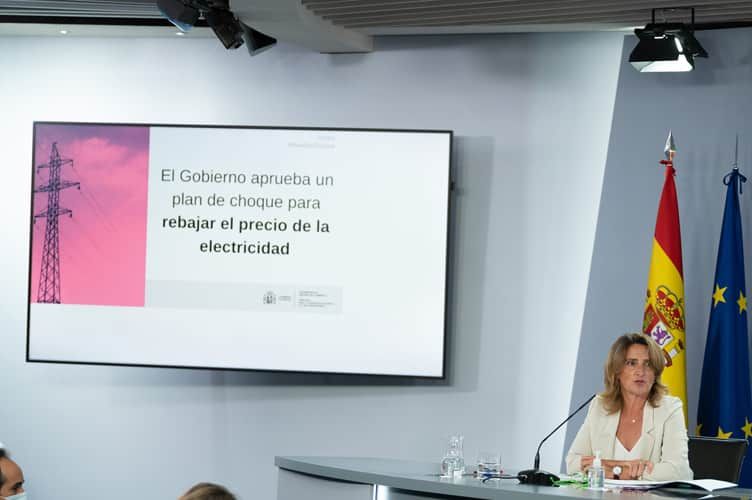 Minister Teresa Ribera, during her speech at the press conference following the Council of Ministers meeting