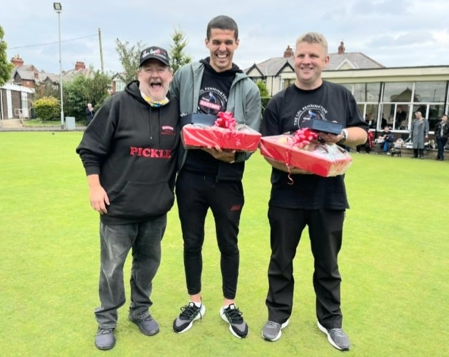 Johnny Vegas with winner of the Lol Pennington Memorial Cup, England star Conor Coady, included in Euro 2020 squad, alongside Jonathan Fenney. Photo: Twitter.