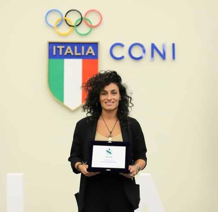 Marta Penalver receives Italia CONI-Salone d'Onore Award.